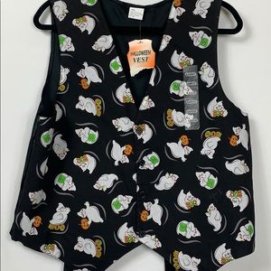 NWT Halloween black vest with ghosts size Lg